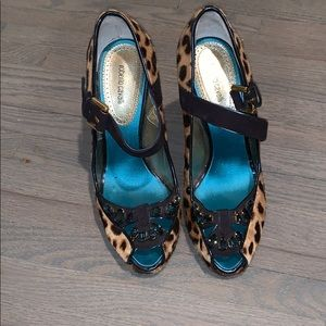 Roberto Cavalli cheetah and navy heels.